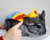 Wonder Woman costume hamster / guinea pig / chinchilla / bunny rabbit. Pet Halloween costumes by Marmota Café.
