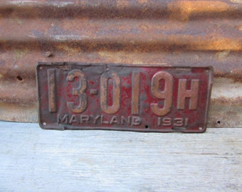 License Plate Vintage License Plate 1931 Maryland MD Red vtg Aged Rusty Patina VTG Rusted Patina Aged Patina Man Cave Sign Garage Sign
