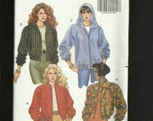 Butterick 5662 Retro Baseball Jackets with Raglan Sleeves & Your Choice of Stand Up Collar of Hooded Sizes 12..14..16 UNCUT