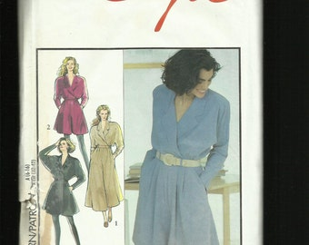 Vintage 1991 Style 1950 Flared  Culotte Dresses with Notched Collars & Side Seam Pockets Sizes 6 to16