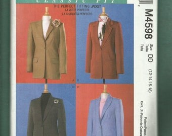 McCalls 4598 Fitted Jacket with Notched Collar with Princess Seams Size 12 to 18 UNCUT