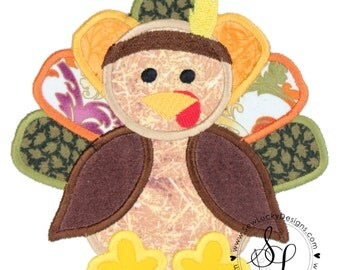 Indian Thanksgiving Boy Turkey Embroidered Patch