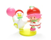 Cherry Cuddler Roller Skating with Gooseberry Vintage Strawberry Shortcake PVC Miniature Figurine - RARE