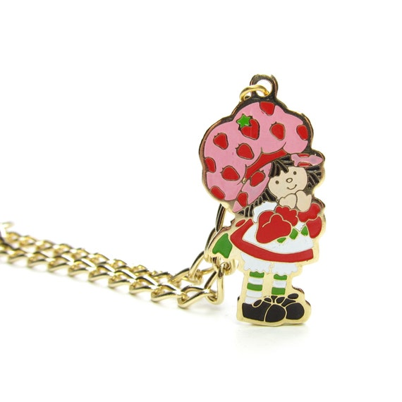 Strawberry shortcake bracelet gold vintage 1980 enameled charm for Strawberry shortcake necklace jewelry