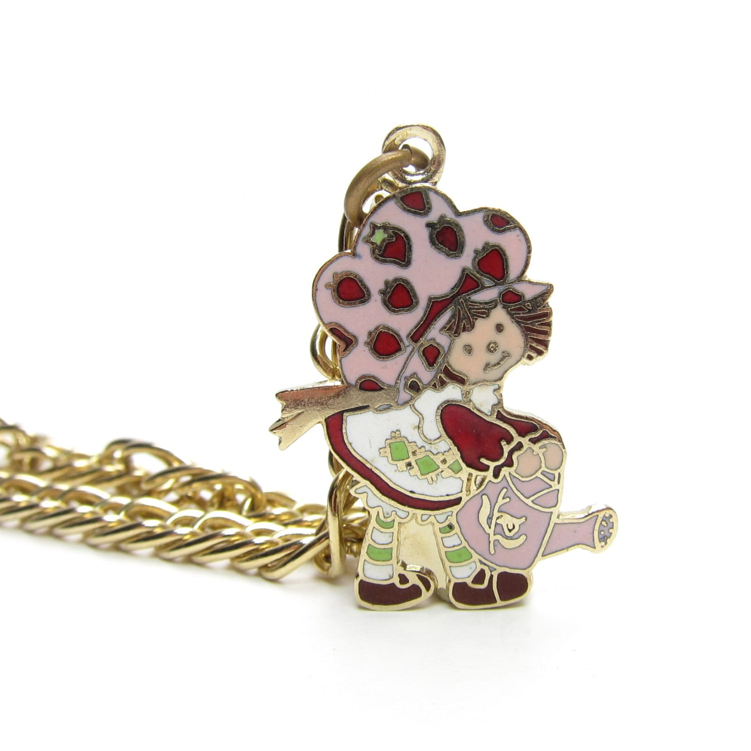 Strawberry shortcake with a watering can charm bracelet gold for Strawberry shortcake necklace jewelry