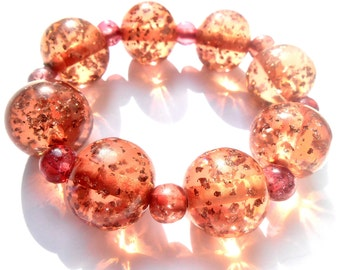LUMINUS STRETCH Bracelet, Chunky, Peach, Rose, Pink, Babble, Stretch ,Lucite, Sparkle Bracelet, Jewelry