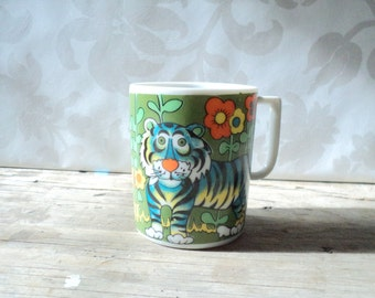 vintage child's cup, Green tigers, bright colours, small ceramic cup perfect for little hands, 1950's, fswp