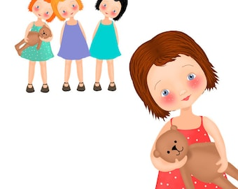 Girl Clipart, Bear Clipart, Hand drawn Clipart, Girl and bear