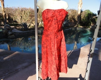 Vintage 1950s 50s dress sundress fitted full S/M Hawaiian cotton smocked red