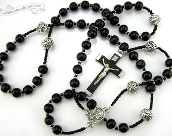 Black Wood Rosary, first communion gift, mens rosary, catholic gift, confirmation rosary, catholic rosaries, communion rosary, catholic