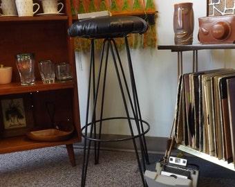 BOGO--Mid Century Hairpin Leg Bar Stool/Vintage Black Metal Barstool/Swivel Stool/1950s