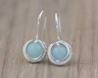 Sterling silver wiring Amazonite drop earring handmade US freeshipping Anni Designs