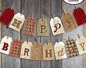 Lumberjack Party - Bunting Banner - Printable (Camping Buffalo Plaid Flannel Logger Fishing Hunting Lodge, Cabin Woodland Woods Axe Rustic