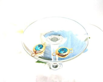 Clasp Gold Plate Oval Light Turquoise Swarovski Stone