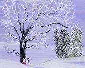 winter wonderland greeting card, winter scene, fairy door greeting card, blank inside