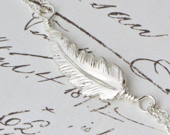 Sterling Silver Feather Necklace - Nature Jewelry - Silver Feather Jewelry - Boho Necklace - Feather Charm - Sterling Feather