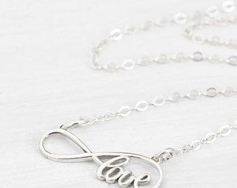 Infinity Love Necklace, Infinity Necklace, Infinity Pendant, Gift for Her, Infinity Jewelry, Love Jewelry, Statement Jewelry