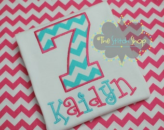 Chevron Number Applique and Monogrammed Name Birthday Shirt.
