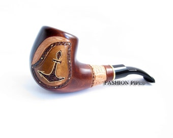 """Carved Pipe, Marine Tobacco Pipe, Smoking Pipe Exclusive Style . """"ANCHOR INLAID"""" with Copper, Wooden pipe/pipes, Limited Edition"""