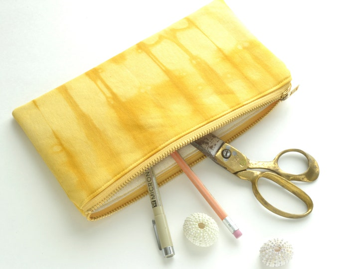 Shibori Pouch - Yellow Pencil Case - Goldenrod