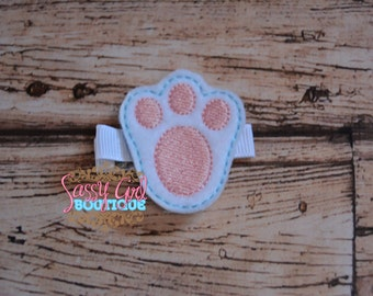 SALE-Holiday-Felt Hair Clips - Girls Hair Accessories - Boutique-Embroidered Bunny Footprint-Hair Clippie -Easter- Bow-No Slip Grip