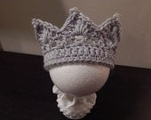 Grey Gray Baby Prince Princess Crown - Newborn  Photo Prop - made to order - Crochet Knit