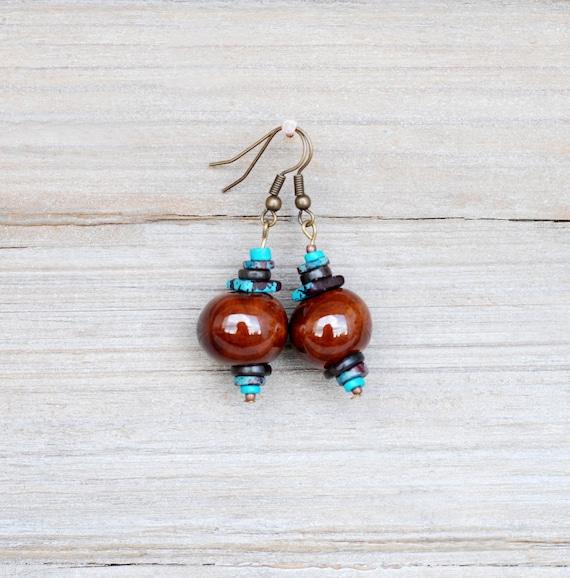 Brown Ceramic  Earrings, Dangle Earrings, Brown And Blue Earrings