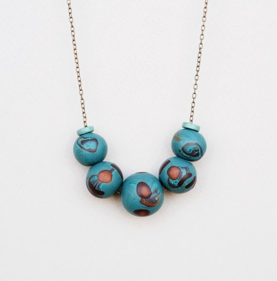 Polymer Clay Necklace, Blue And Brown Necklace, Handmade Necklace, Clay Necklace
