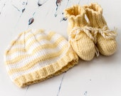 Cute Baby Gift - Hand Knit Striped Beanie Hat and Booties Set -  Primrose & Cream -  handmade baby clothes, new baby gift, baby shower