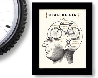 Bicycle Gift Bike Art Phrenology Head Bike Rider Bicycle Shop Bike Brain School Racing Team Biking Words Cycling Art Loves Bikes