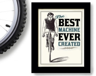 Bicycle Art Print Vintage Cycling Art Black and White Bike enthusiast Mens Gift Art for Man Cave Loves Biking