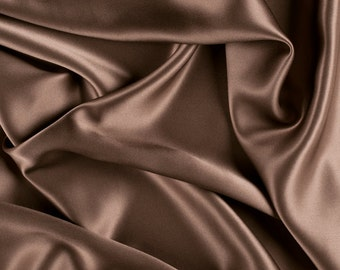 """45"""" Wide 100% Silk Charmeuse Latte Brown By the Yard"""