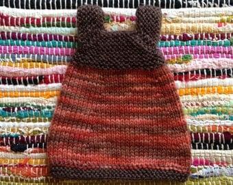Hand Knit Waldorf Doll Dolly Rainbow Dress