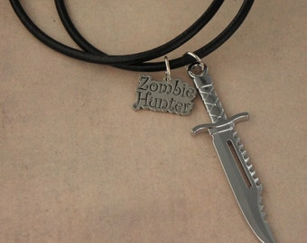 ZOMBIE HUNTER Survival Knife Black Leather Thong Necklace For The Walking Dead Zombie Apocalypse - Men's Unisex Necklace - Zombie Jewellery