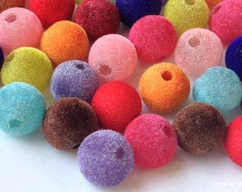 12 mm Round Faux Velvet Acrylic Beads of Assorted Colors (.sm)