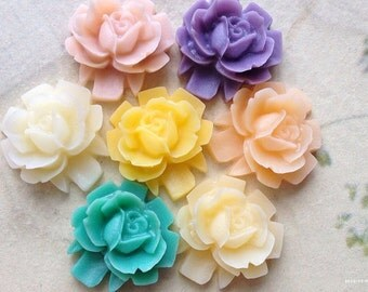 16 mm Rose Resin Flower Cabochons of Assorted Colors (.sh)