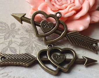 20 x 53 mm of Antiqued Bronze Arrow With Heart Charm Pendants (t.aa)