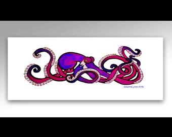 Neon Purple Octopus Painting   Octopus Art    Octopus Canvas Print   Octopus Wall Art   Surf Decor   Canvas Art Beach   Neon Art   Scuba Art