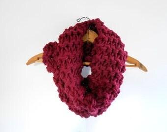 Chunky Cowl Knit Burgundy Scarf