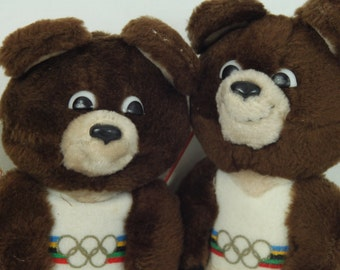Vintage 1979 Misha Official Mascot of the 1980 Moscow Olympic Games Bear with tags, R Dakin