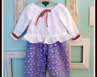 CLEARANCE - Baby Outfit, Poofy Pants, Peasant Top, Infant Outfit, Toddler Outfit, Reversible Pants, Baby Pants, The Corduroy Hippo