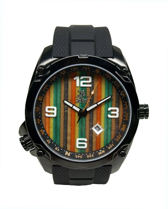 Wood Watch Dial Recycled Skateboard Watch Second by SecondShot