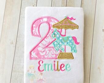 Birthday Carousel Applique Shirt- Horse-1st, 2nd, 3rd, 4th birthday