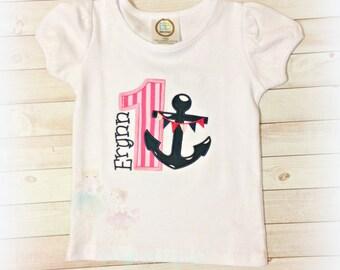 Anchor birthday shirt - nautical birthday shirt - summer theme shirt - nautical themed birthday - personalized birthday shirt - summer theme