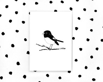 New Zealand Tomtit A4 Art Print - Limited Edition