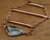 Stone Necklace Copper Tube Necklace Statement Necklace Gemstone Necklace Edgy Funky Modern Necklace