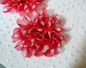 Hot Pink Polka Dot Flowers. Pink Chiffon Flowers. 1 PC. PF1005