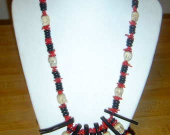 Day of the Dead, bamboo coral and hand carved bone skull necklace