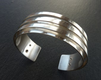 Sterling Silver Statement Cuff - Double Silver Bangle, Free UK Postage