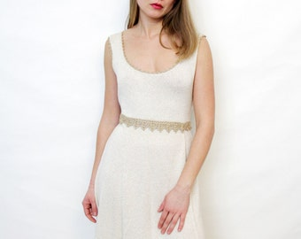 Vintage Off White Knit Wedding Dress with Gold Embroidery